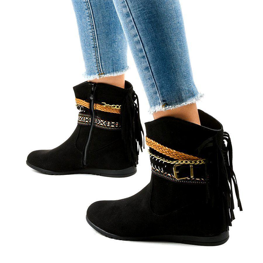 Czarne Zamszowe Botki Z Fredzlami T88 Black Boots Women Black Suede Boots Boots