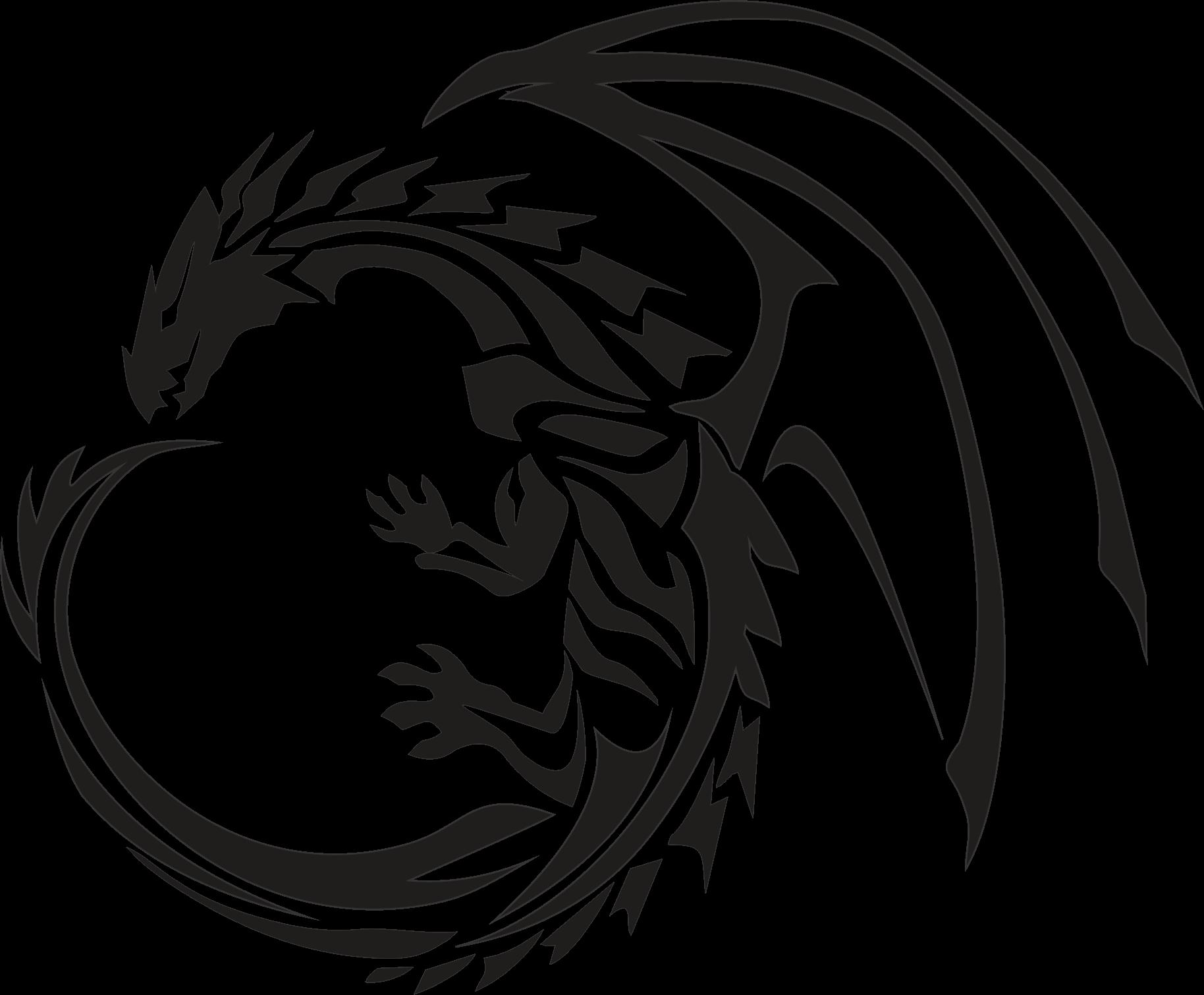 Circle Dragon Tattoo Tribal Dragon Tattoos Dragon Silhouette Dragon Tattoo