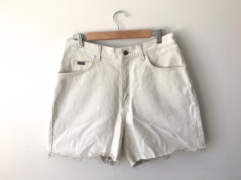 37d3ae92de Vintage 90s Natural Denim Cut Off Jean Shorts USA Union Made Riders Neutral  Light Tan Khaki Off White Pure Cotton 14 Med 31 x 4.5 High Rise