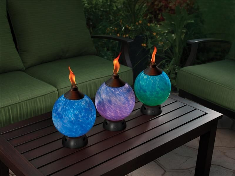Three Tiki Glowing Tabletop Torches (for Outdoors). Each Is Tall, And In  Diameter.
