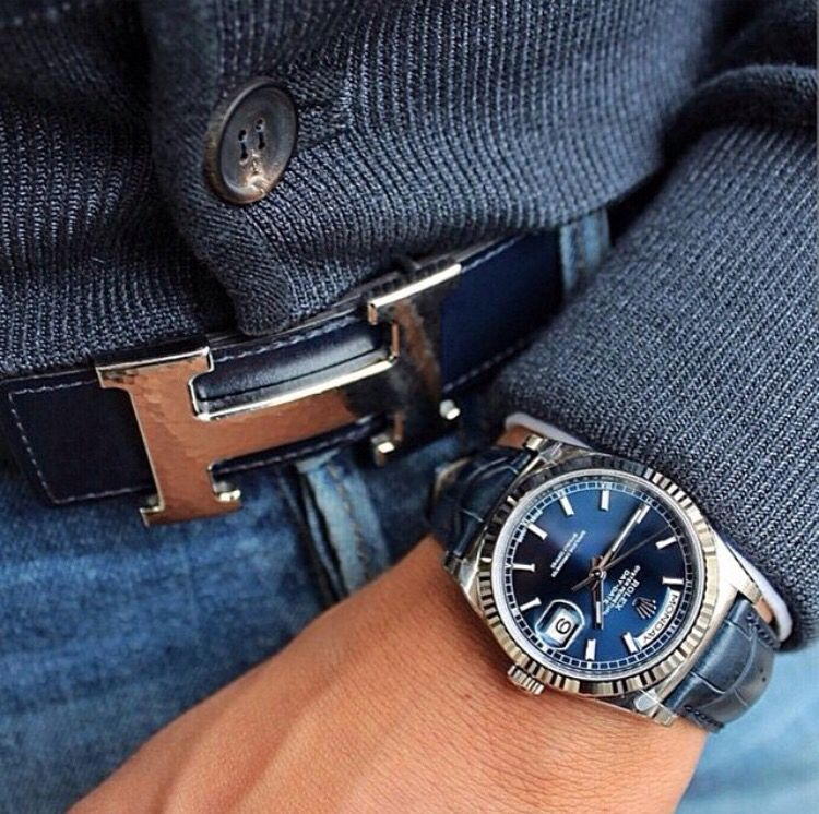 Rolex Day,Date @Mirko170(Instagram) matching Hermes belt and