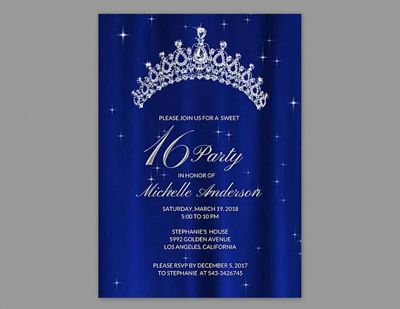 Sweet 16 Invitation Royal Blue, Sweet 16 Invitation Printable, Sweet