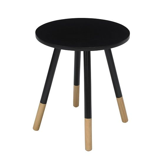 Amesbury Wooden Side Table Round In Black In 2020 Wooden Side