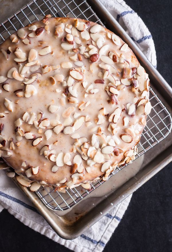 Almond Olive Oil Cake with Brown Butter Glaze | bloggingoverthyme.com - I'm going to try this with gluten free flour (and a bit of xanthun gum)