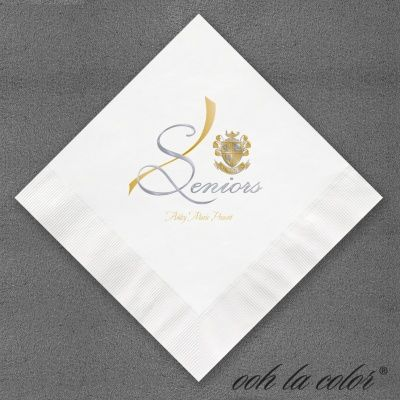 Seniors In Brass Napkin Wedding Stationery Personalized
