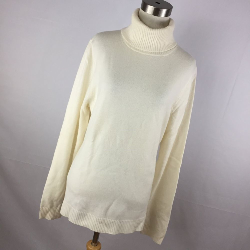 J Crew L Large Cashmere Sweater Cream Turtleneck Classic Women's ...