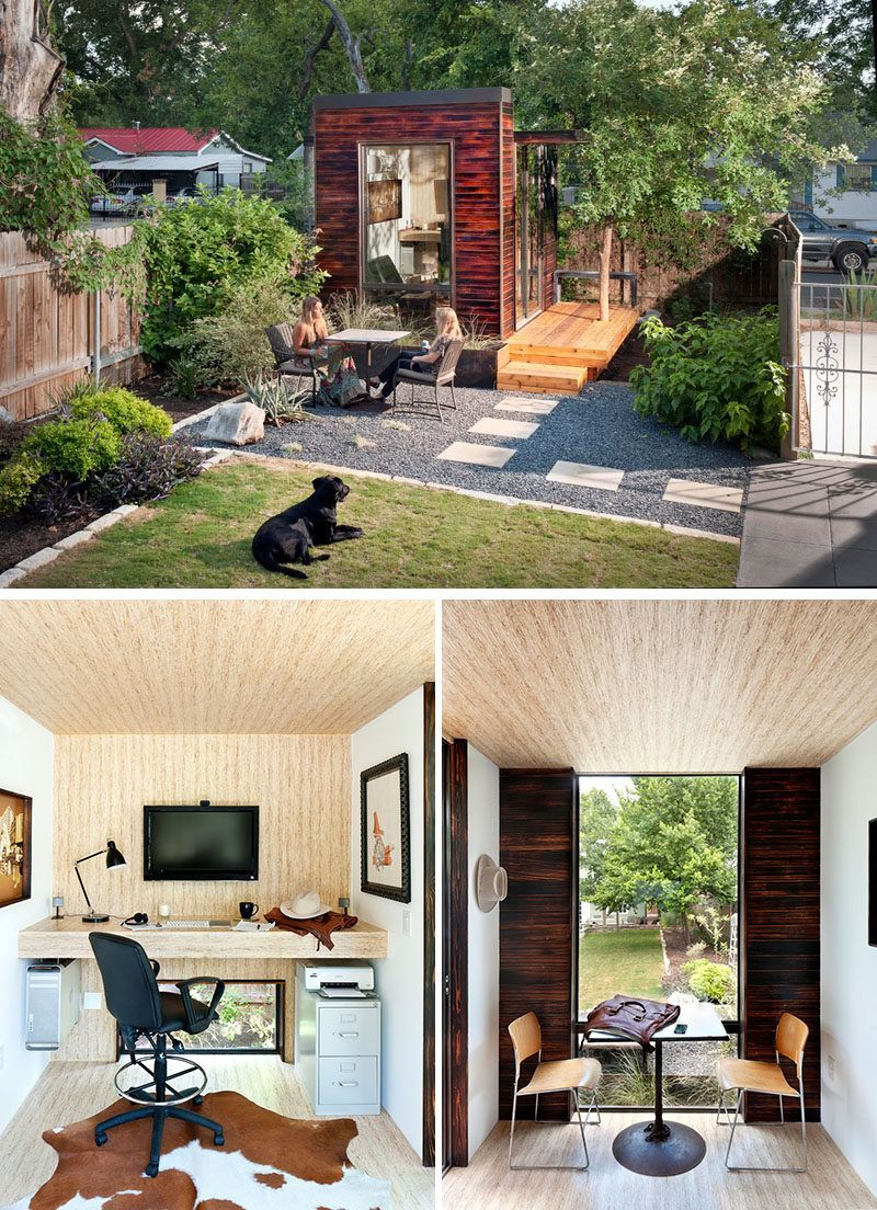 Tucked into the back corner of this backyard sits a small studio home  office covered in charred wood siding. - 14 Inspirational Backyard Offices, Studios And Guest Houses Office