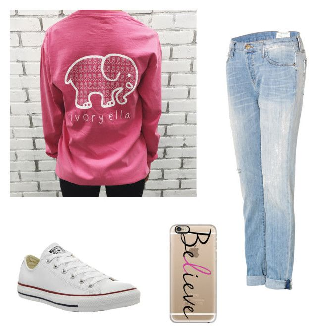 """Breast cancer awareness"" by emilymartinn ❤ liked on Polyvore featuring Converse, Casetify and Current/Elliott"