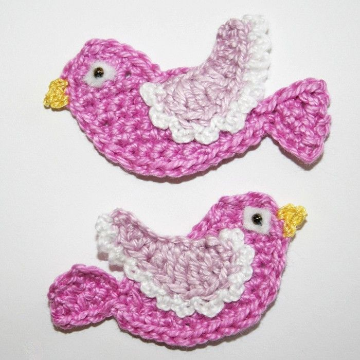 Crochet Bird Applique pattern by Nana Sue | Applikationen, Häkeln ...