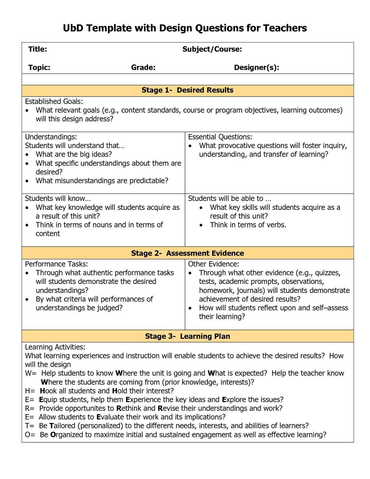 Understanding by Design template | Classrooms | Pinterest ...