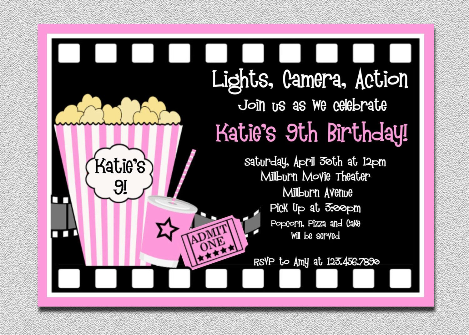 Movie Birthday Invitations | Movie Night Party | Pinterest ...