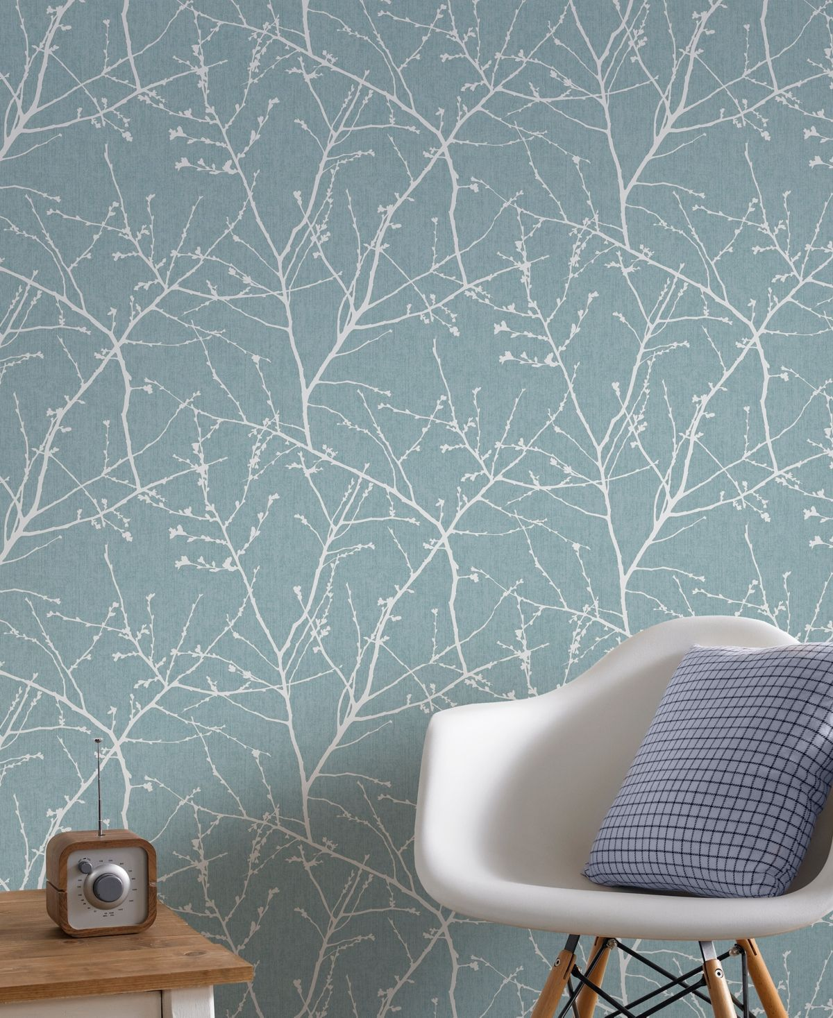 Duck Egg Blue And Copper Wallpaper