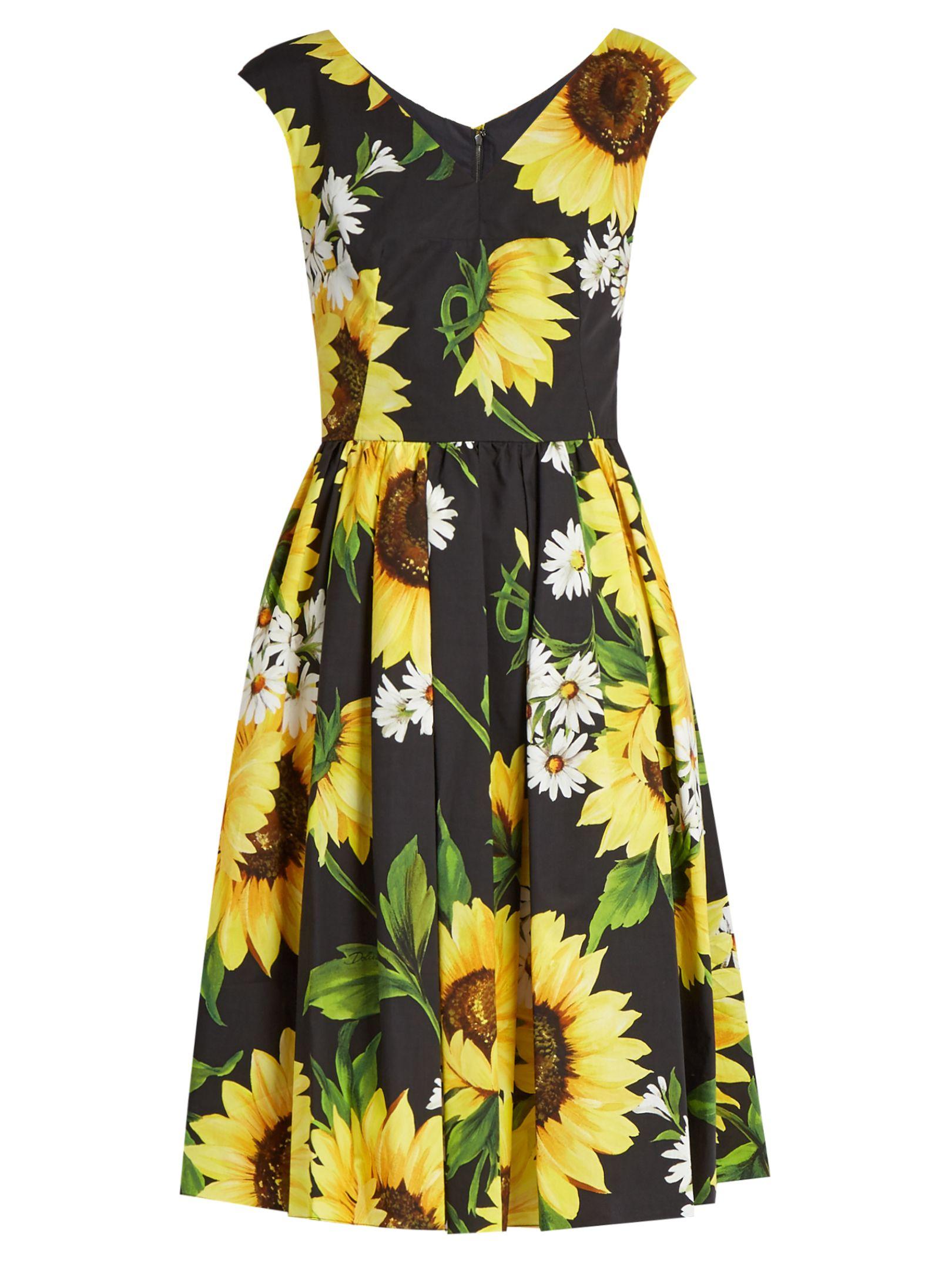 60d61b444405 Click here to buy Dolce & Gabbana Sunflower-print cotton-poplin dress at  MATCHESFASHION.COM
