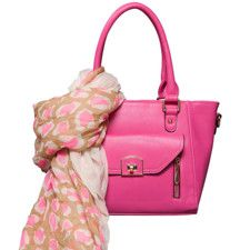Two-Fer Deal! (a $116 value for only $96) Kennedy Shoulder Bag in Fuchsia & Leopard Star Scarf