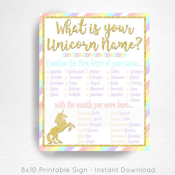 Your Unicorn Name Unicorn Party Sign Pastel Rainbow