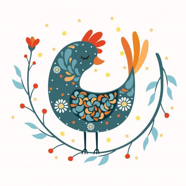 Rooster bird folk art Free Vector | Premium Vector #Freepik #vector #design