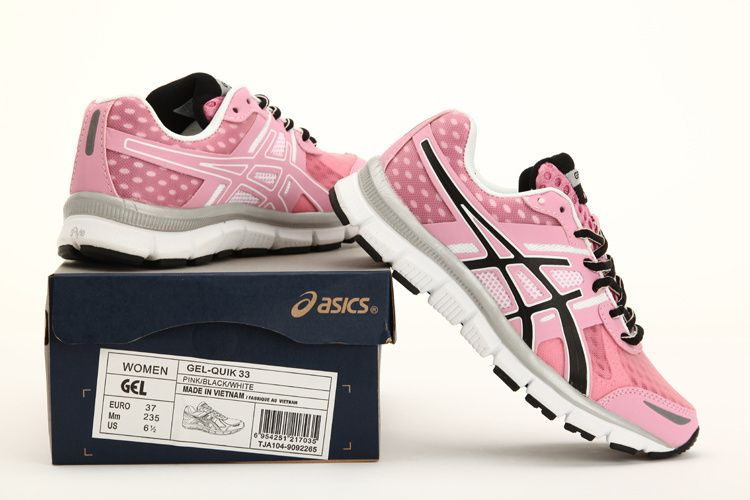 pink and white asics