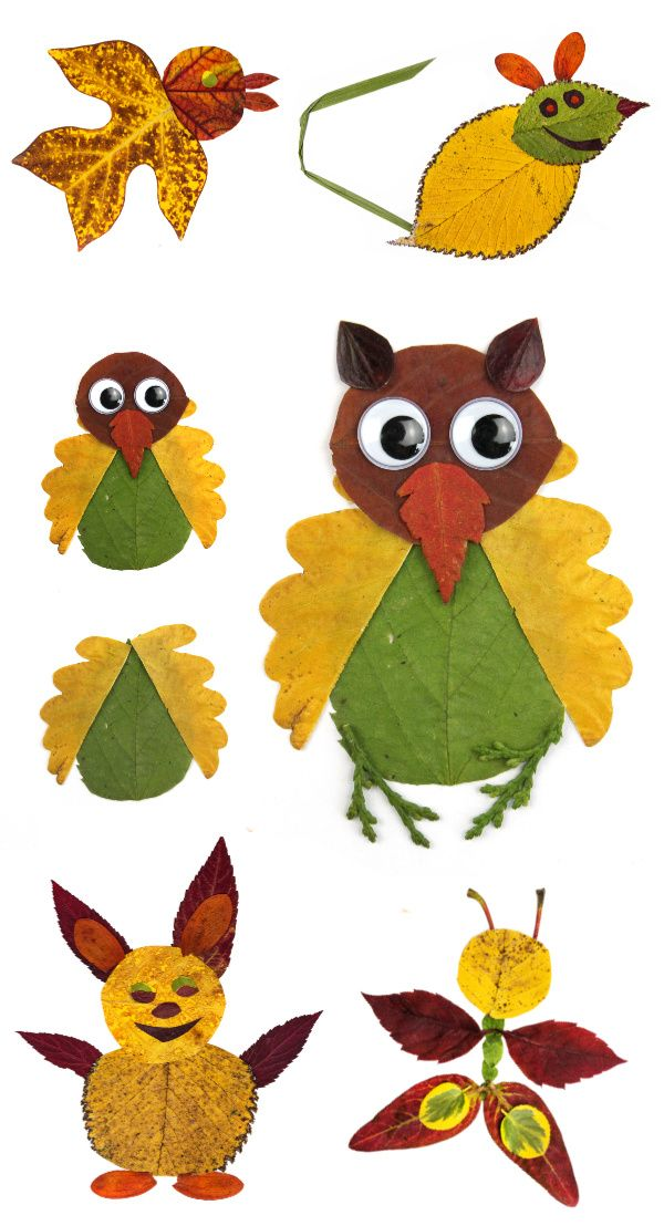 Leaf Animal Collages #leafcrafts