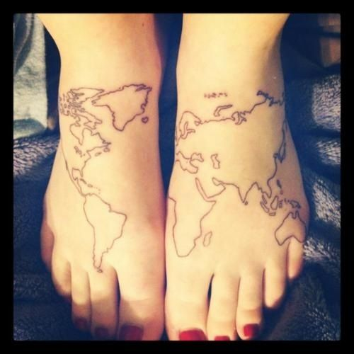 Fbe485098e23df6cd8469255b1477525g 500500 pixels tattoos global map foot tattoo color in visited nations with shades of gray gumiabroncs Image collections