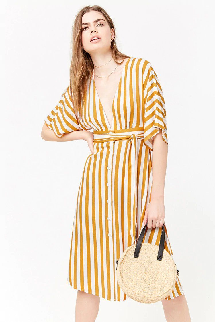 b822c07dbf4 Plunging Striped Dress