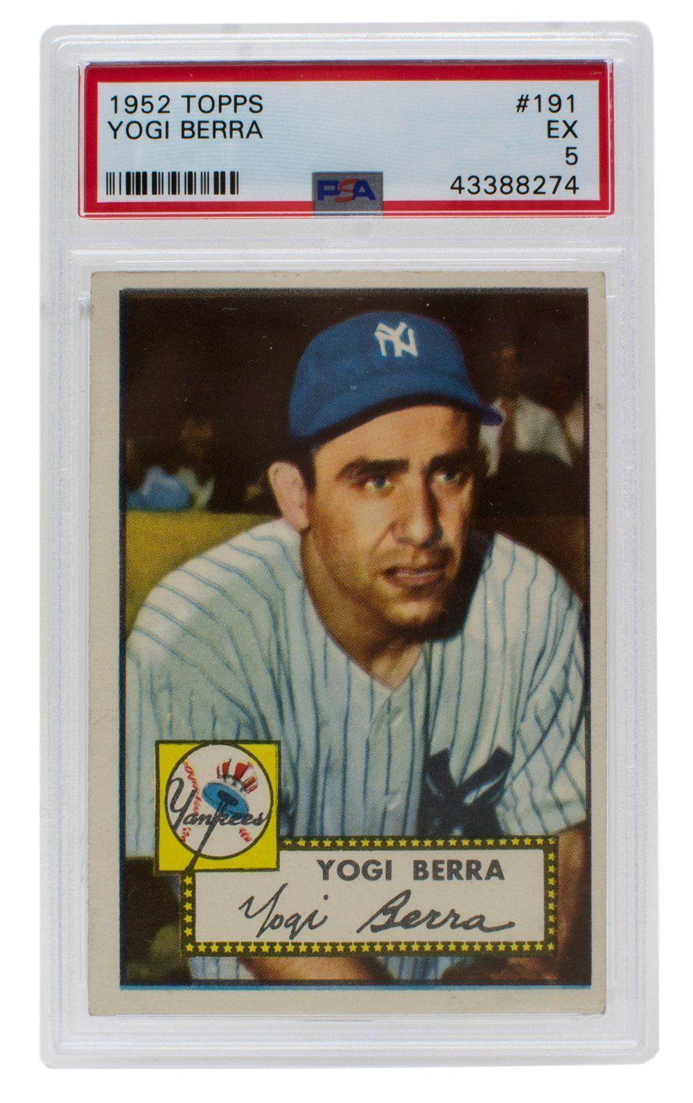Yogi Berra 1952 191 Topps New York Yankees Baseball Card Slabbed Psa Ex 5 Sportsmemorabilia Autographs Yogi Berra Baseball Cards Baseball