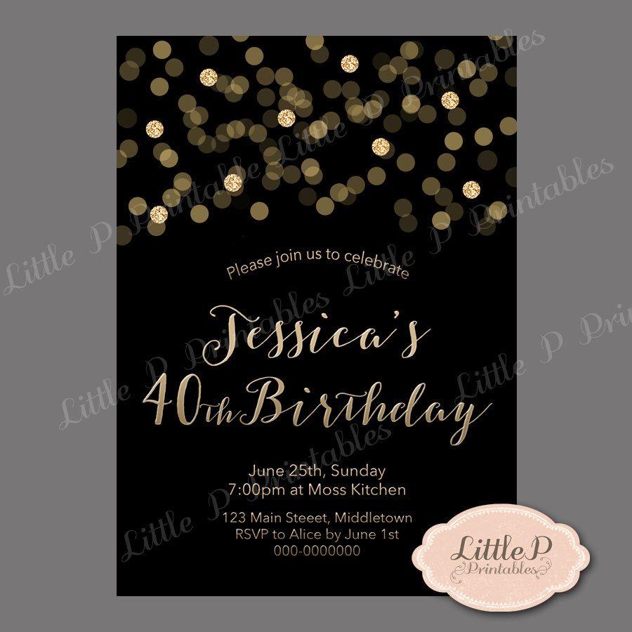 40th Birthday Invitation. Confetti Birthday Invitation. Black and ...