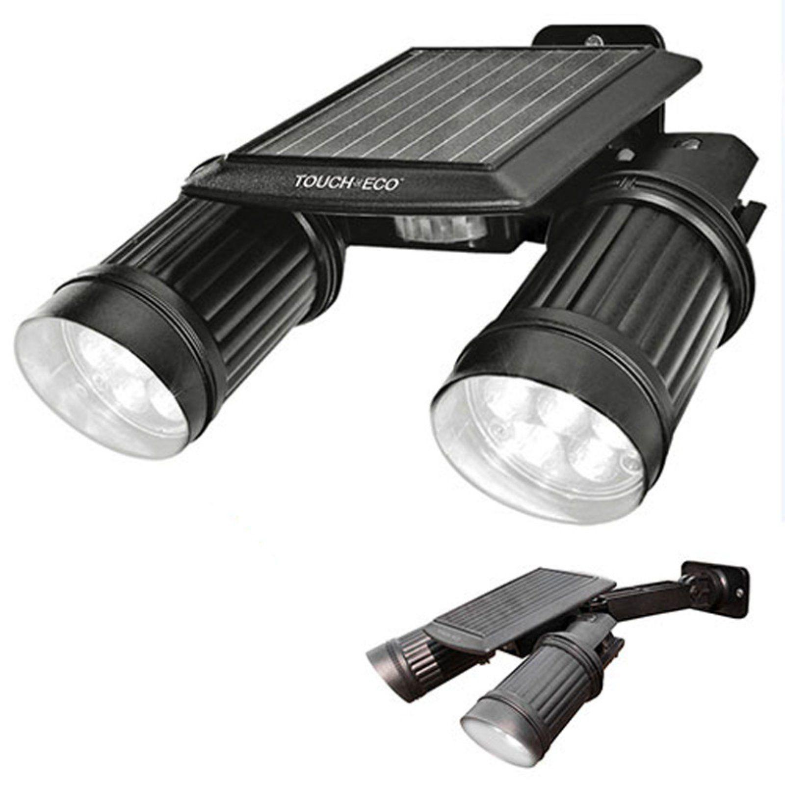 Touch Of Eco Twinspot Solar Dual Motion Spotlight Black Led