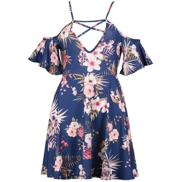 7c32b26fb Boohoo Lola Floral Strappy Cold Shoulder Skater Dress ($30) ❤ liked on Polyvore  featuring dresses, blue jersey, floral bodycon dress, maxi dresses, ...