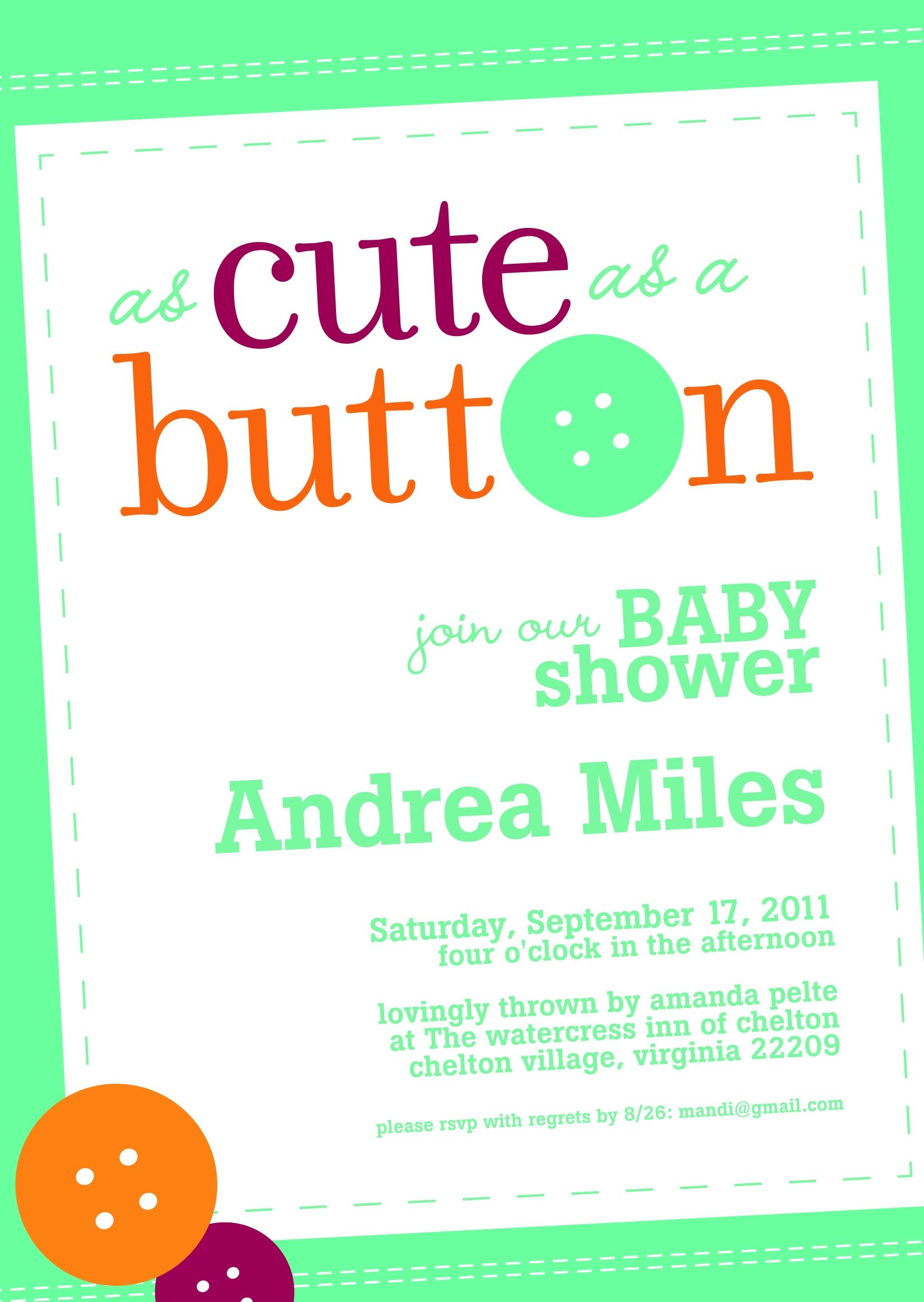 Cute Button Baby Shower Poem o