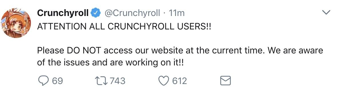 Crunchyroll Hacked!! site redirected to server with malicious software!! news  Anime