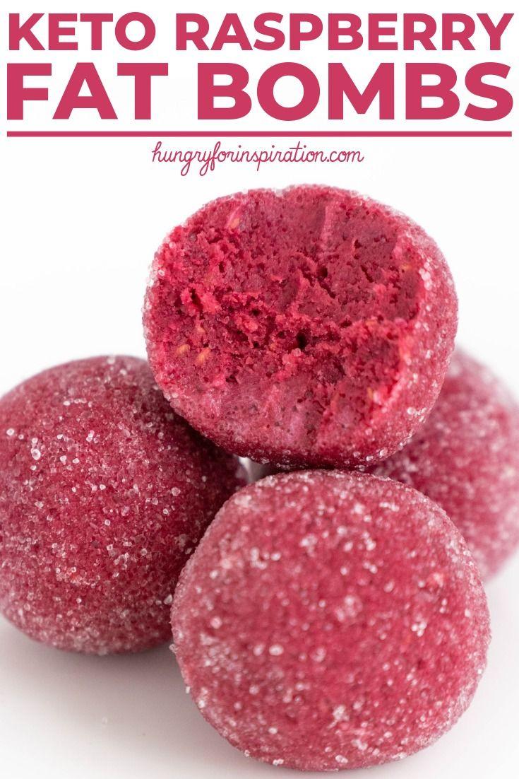 Healthy Keto Raspberry Fat Bombs #ketodessert