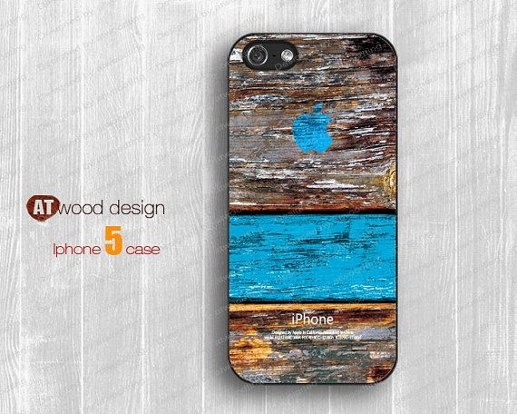 NEW iphone 5 case  iphone 5 cover  case for iphone 5 colorized colorized blue wood texture printing Iphone Logo design. $14.99, via Etsy.