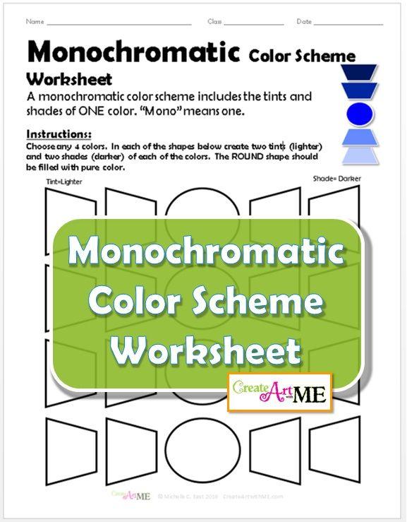 Monochromatic Color Scheme Worksheet Monochromatic color
