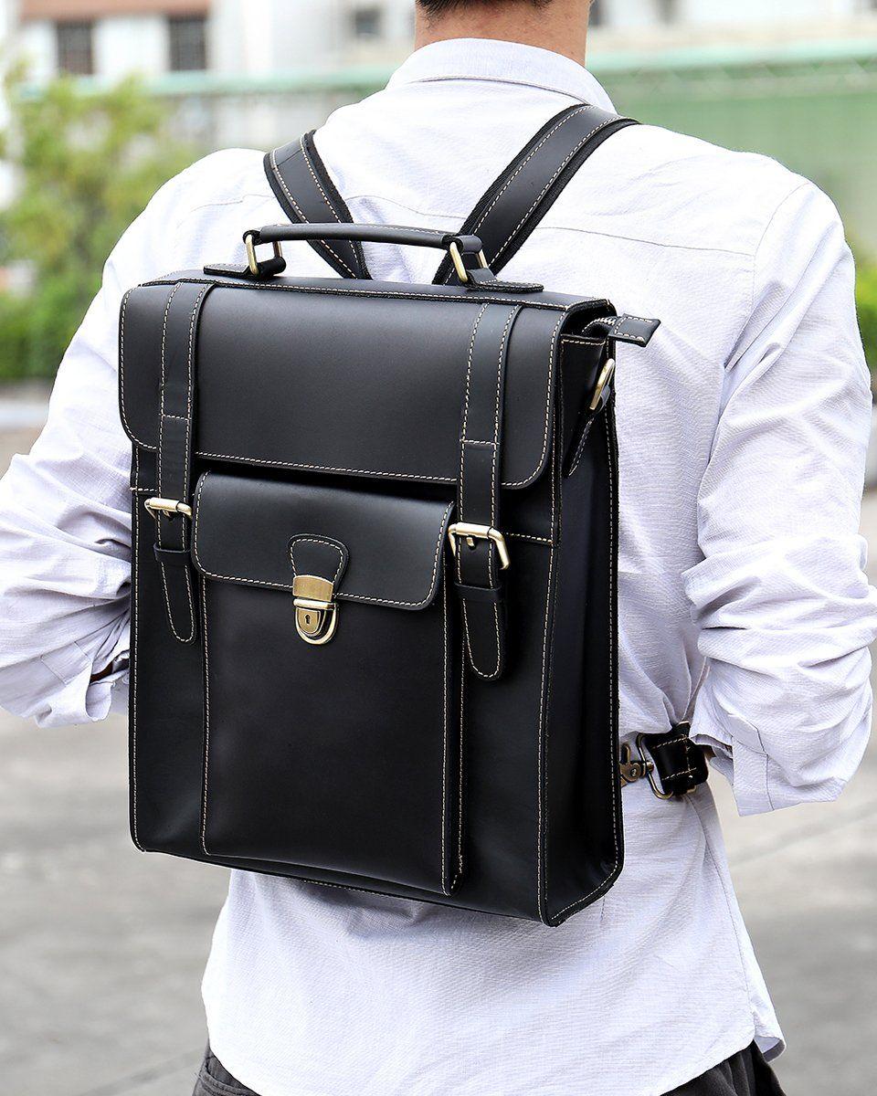 Genuine Black Leather Backpack For Men Laptop Bag Casual Messenger Bag Schoolbag College Backpac Laptop Bag Men Leather Backpack For Men Black Leather Backpack