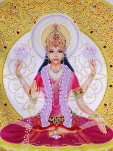 Picture of Lakshmi, Goddess of Wealth and Consort of Lord Vishnu, Sitting Holding Lotus Flowers, Ha Photographic Print by Godong at AllPosters.com