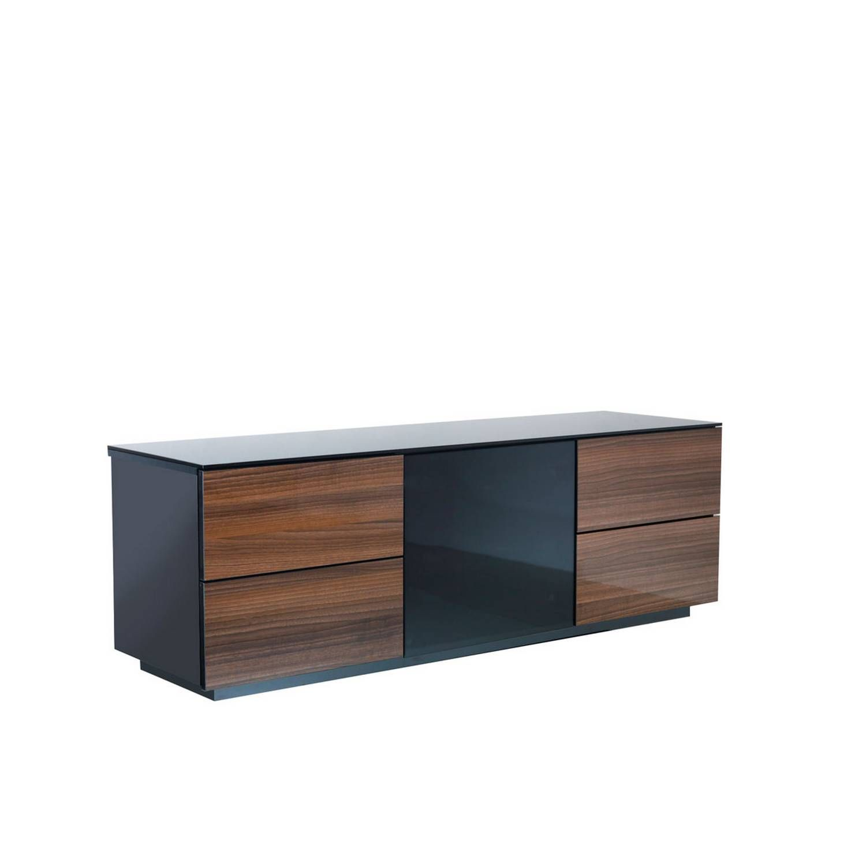 Uk Cf London Designer High Gloss Black & Walnut Tv Stand