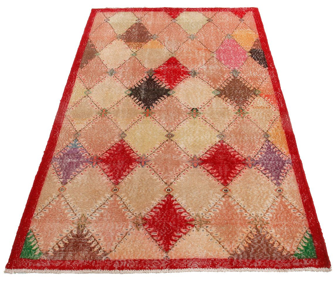 Turkish Multicolored Small Vintage Rug Entry Geometric Pattern