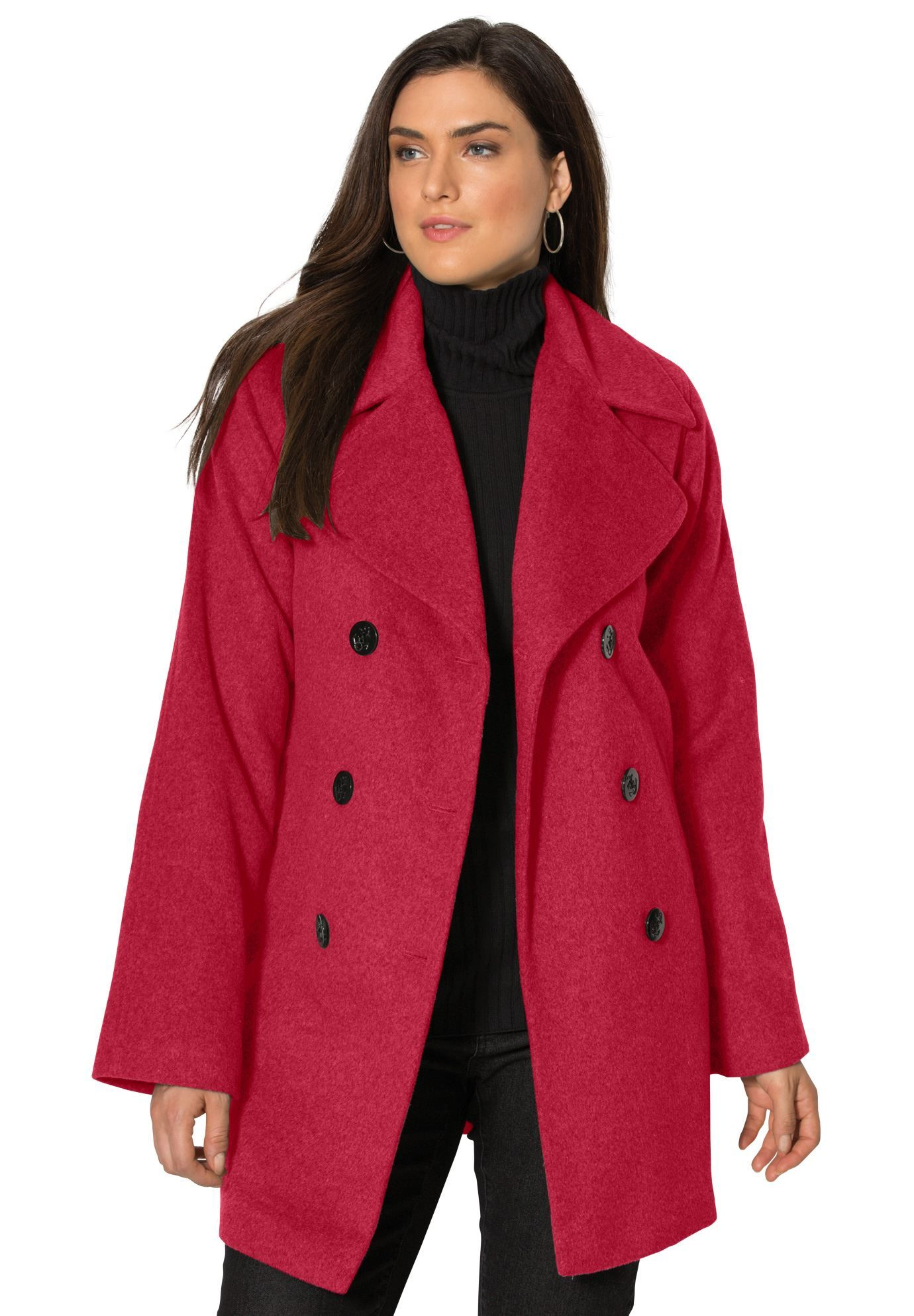 our classic plus size peacoat is the perfect top layer for modern
