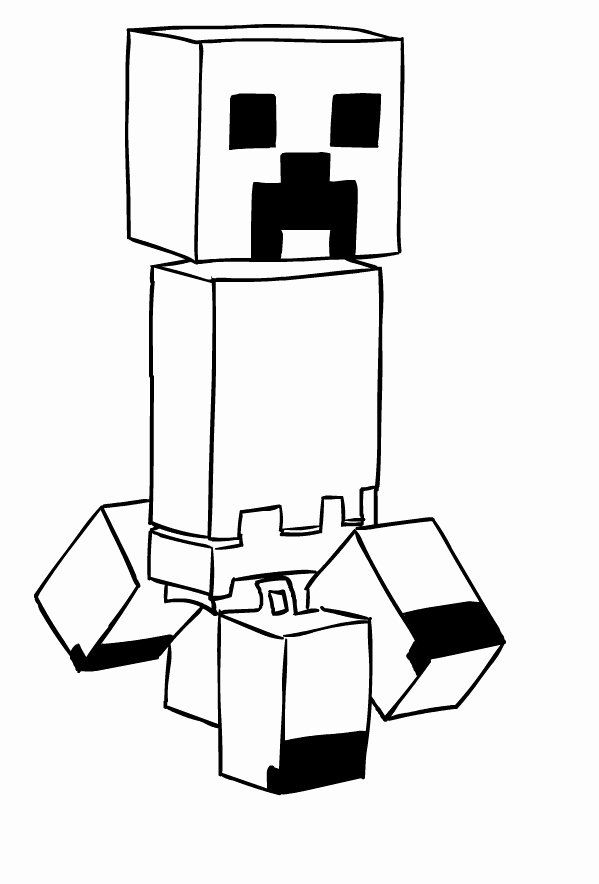 Minecraft Creeper Coloring Page New Drawing Of Creeper Di ...