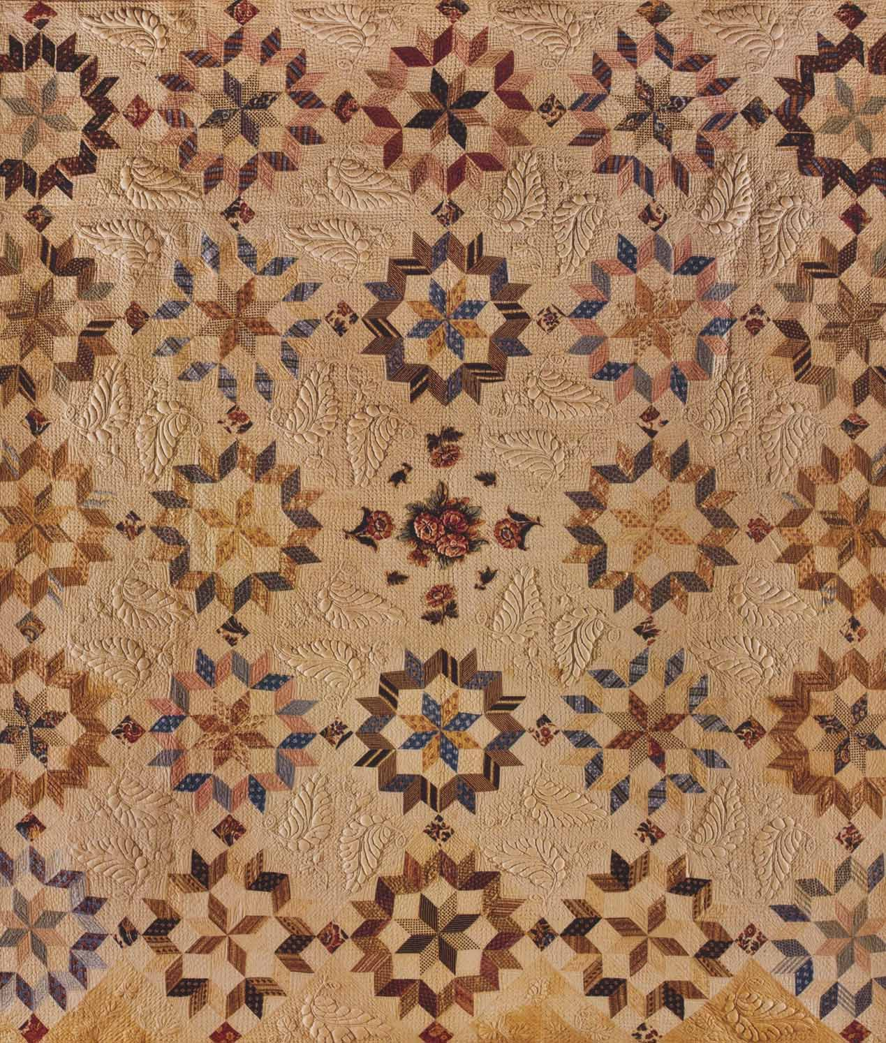 Carpenter's Wheel Quilt, 1835-1845. Pennsylvania. QUILTS Masterworks from the American Folk Art Museum. Great trapunto!