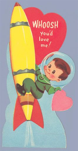 Love In Orbit Space Rockets Astronauts And Aliens Vintage