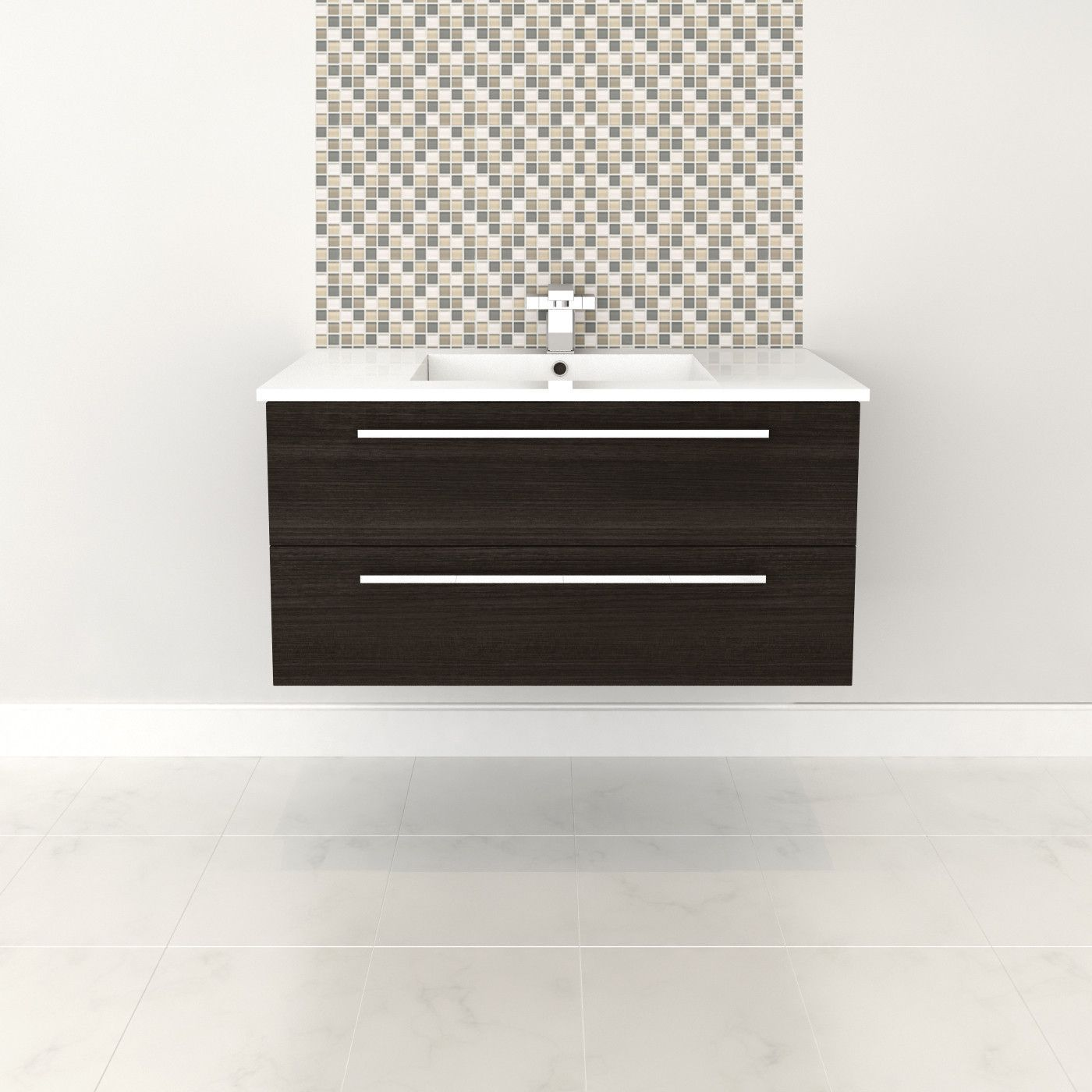 Dark Chocolate 36'' Modern Wall Hung Vanity 2 Drawers With Top by Cutler