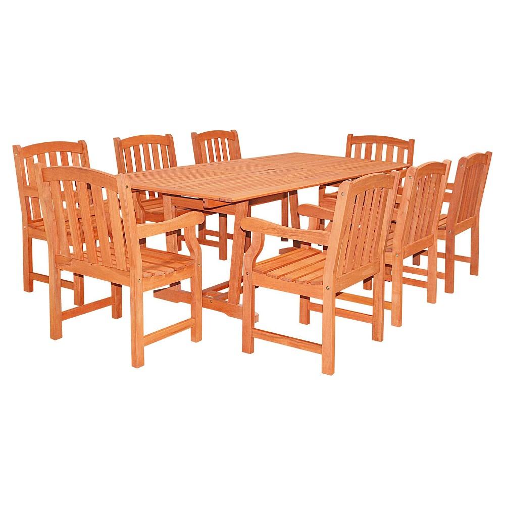 Vifah rectangular extension table u wood arm chair pc outdoor