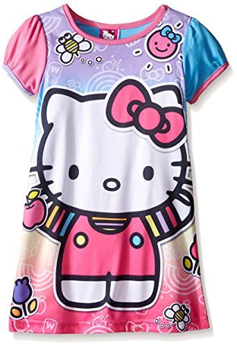 38c45f1ae Amazon.com: Hello Kitty Little Girls' Rainbow Fun Nightgown Multi 4:  Clothing