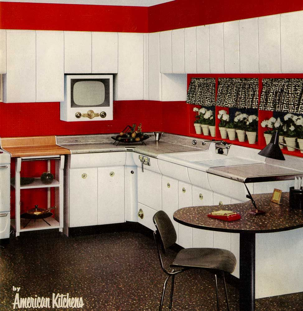 Six Kitchen Designs From 1953 Avco American Kitchens Retro Kitchen American Kitchen Kitchen Design