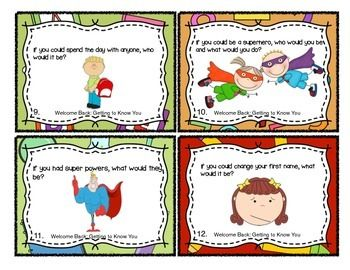 WELCOME BACK: GETTING TO KNOW YOU TASK CARDS - TeachersPayTeachers.com $