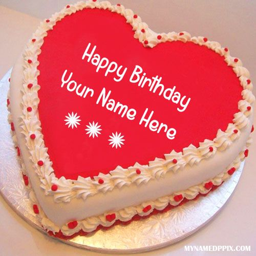 Write Name On Heart Look Birthday Cake Online Print Your Image