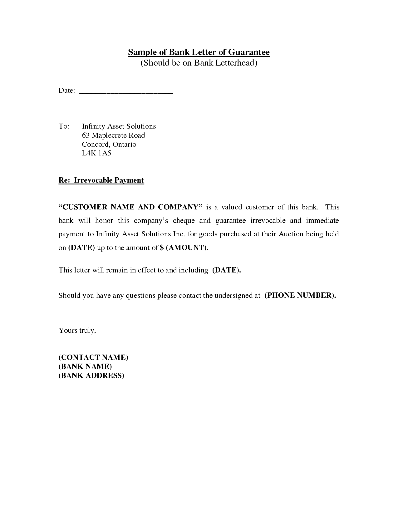 Sample Letter From Bank Reference Guarantee Cancellation Release