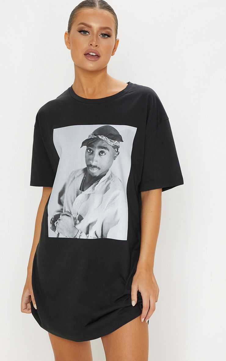 fcc60419dd Tupac Dark Grey Portrait Oversized T Shirt Dress in 2019