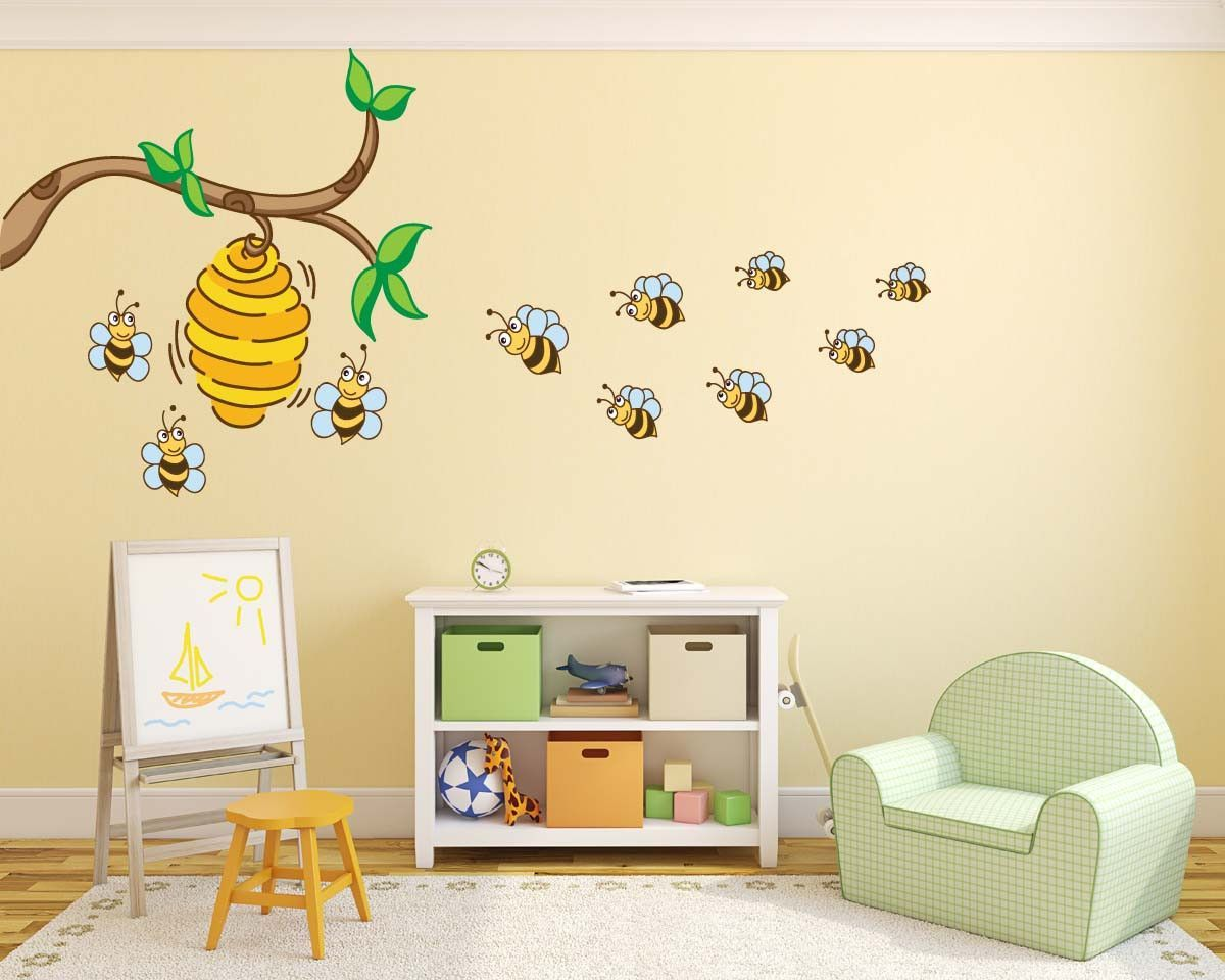 Cute Bees Hive Tree Branch Wall Decal | Products | Pinterest | Products